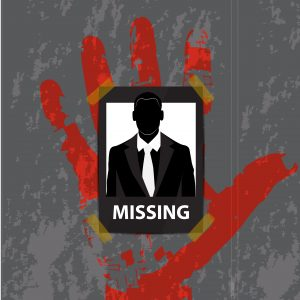 vector -The Businessman missing announce on wall gray background